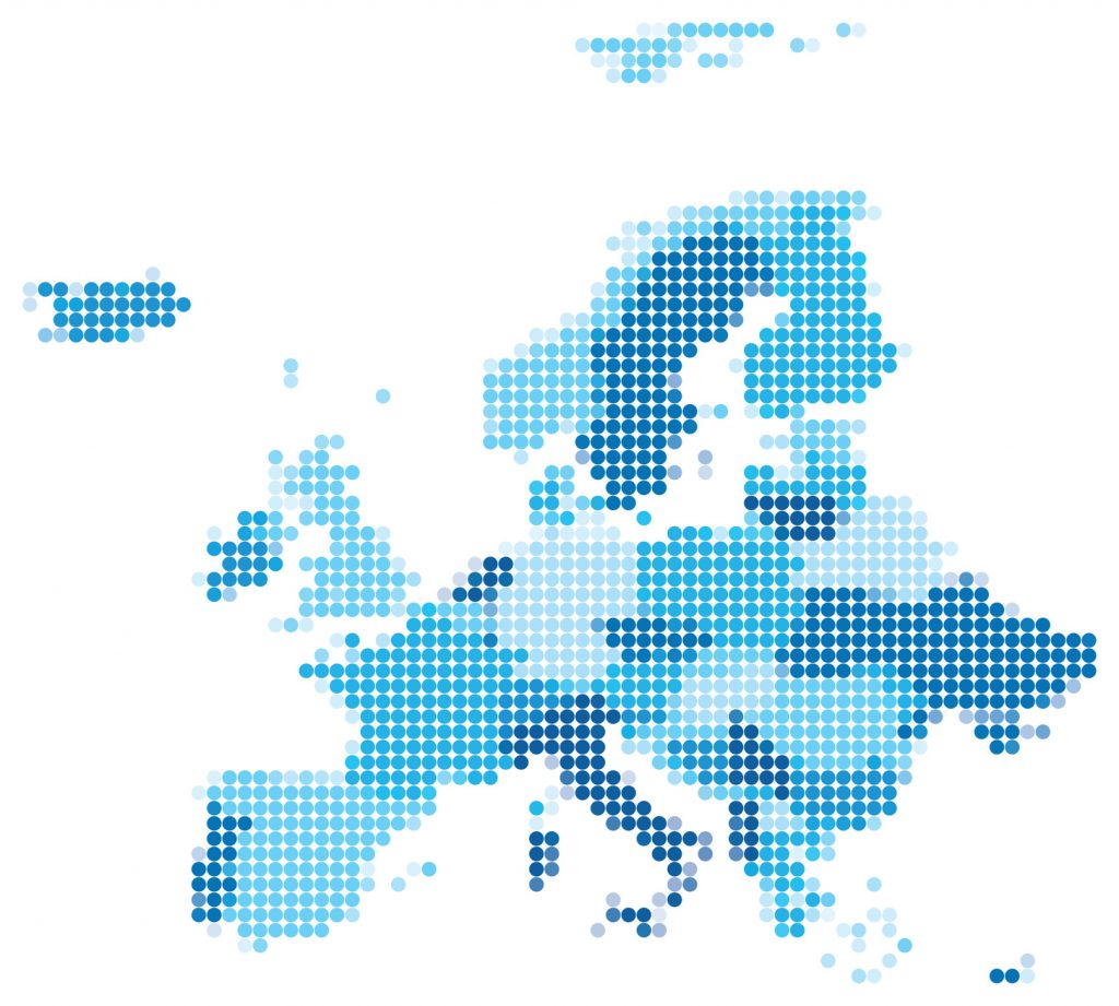 Vector illustration of blue dotted map of Europe.  Map source: http://www.lib.utexas.edu/maps/world_maps/world_physical_2011.pdf Software used: Adobe Illustrator CS5 Date created: 31.10.2012. Layers of data used: Outlines